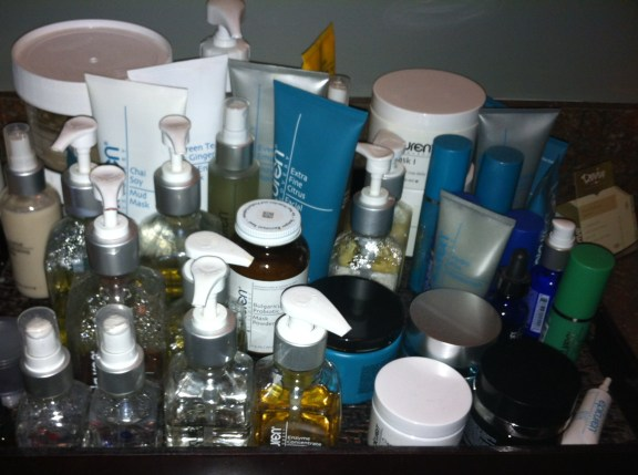 All of the lotions and potions used in a facial.  Wowzers.