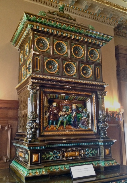 One of the dozen tile fire boxes placed throughout the mansion.  Each box was unique, yet all were as exquisitely detailed as this one.