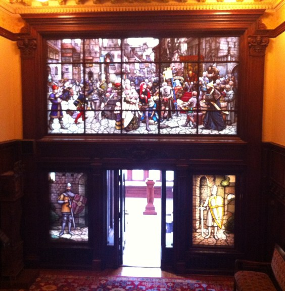 A massive stained glass scene that marked the entry into a stunning solarium.  I would have been happy to put a cot and camp stove into that 300 square foot space and call it home.